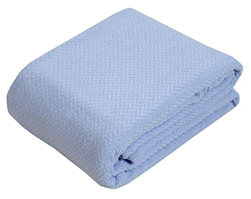 100% Soft Premium Ringspun Cotton Thermal Blanket - Full/Queen - Xenon Blue - Snuggle in These Super Soft Cozy Cotton Blankets - Perfect for Layering Any Bed - Provides Comfort and Warmth for Years
