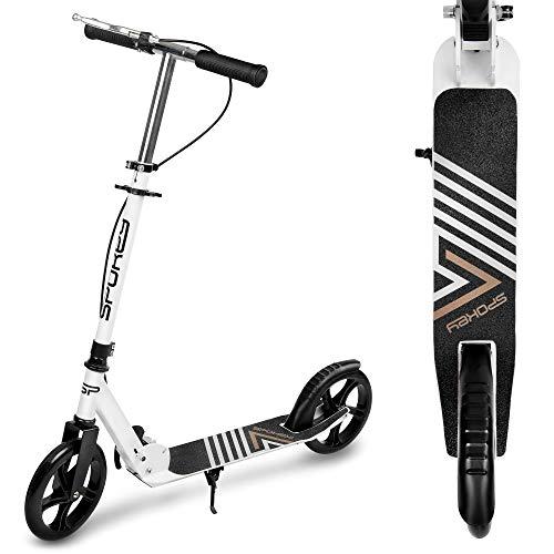 Spokey AYAS - Patinete juvenil con ruedas grandes de 200 mm, plegable, freno de mano, patinete para el tiempo libre, altura del manillar ajustable