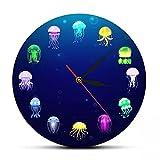 wszhh Reloj de Pared de Medusas oceánicas con Estampado Colorido, decoración de Acuario de guardería, jaleas Marinas, Reloj de Pared Decorativo, Arte de Pared de Animales Marinos