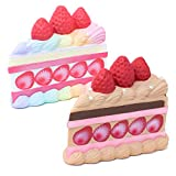 Hamee iBLOOM Slow Rising [Squishy Collection] Princess Short Cake Jumbo [Scented] Cake Slice Squishy Kids Cute Adorable Stress Relief Toy Decorative Props from Japan, 2 Piece Set [Rainbow, Chocolate]