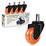 Office Chair Caster Wheels, Safe for Hardwood,Carpet Floors,2' Heavy Duty Replacement Wheel for Desk/Gaming Chair,Stool, Swivel Roller Casters,Universal Fit Standard Stem 7/16 Inch,Set of 5,Orange