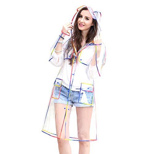 Clothing decoration Transparenter Poncho mit Kapuze für Erwachsene, modischer grüner Eva-gefütterter Poncho-Trenchcoat, tragbarer Outdoor-Regenmantel für Männer und Frauen