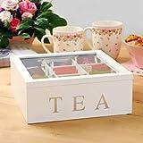 Caja de té de bambú, soporte para bolsitas de té con tapa, tapa, organizador de almacenamiento de bolsas de té/café de bambú de 9 compartimentos, caja de té de madera para gabinetes de cocina