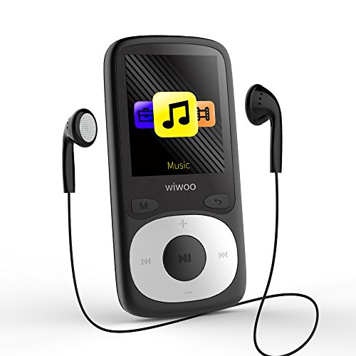 Wiwoo Portable MP3 Player with Bluetooth 16 gb, Black MP3 Player with FM Radio, Ebook, up to 128GB SD Card, with Armband for Running for Sport