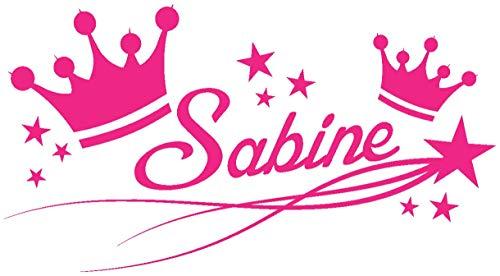 Samunshi® Türaufkleber Kronen mit Name Wandtattoo 40x21cm pink