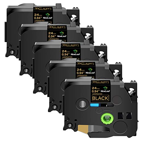 NineLeaf 5 Pack Compatible for Brother TZe TZe-354 TZ-354 TZ354 Label Tape Gold on Black Standard Laminated Tapes 24mm Work with P-Touch PT-D600 PT-P710BT 1500 1600 Label Maker 1 Inch x 26.2 Feet