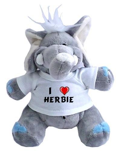 Elefante de peluche (juguete) con Amo Herbie en la camiseta (nombre de pila/apellido/apodo)