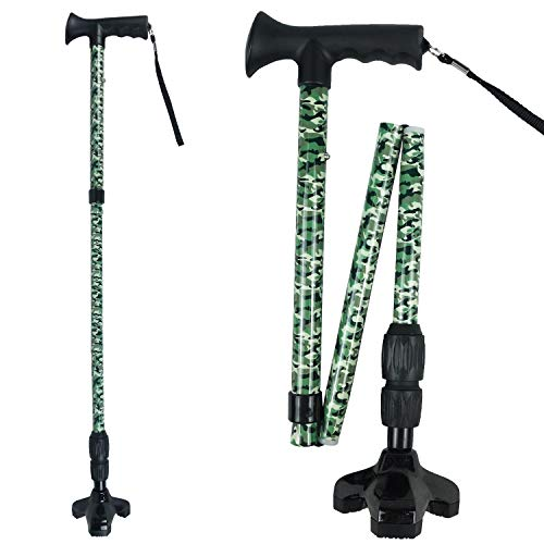 D.S.CARE Folding Walking Cane with 360 Degrees Pivoting Base, Shockproof, Adjustable and Portable Walking Stick, Aluminium , 8 Level from 32.5 to 39.5 inches, Green Camo Printing, Made in Taiwan.