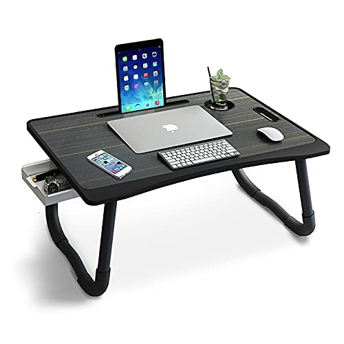 OXENDURE Laptop-Betttisch mit Aufbewahrung, faltbarer Laptop-Schreibtischständer, Frühstückstablett, Multifunktions-Tablett mit Schublade zum Essen, Lernen auf Bett/Sofa/Couch