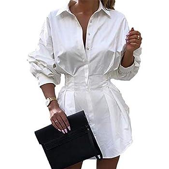 Shirtdress for Women Sexy Short Dress Button Down V Neck Tunic Tops Long Sleeve Blouse Tops White XL