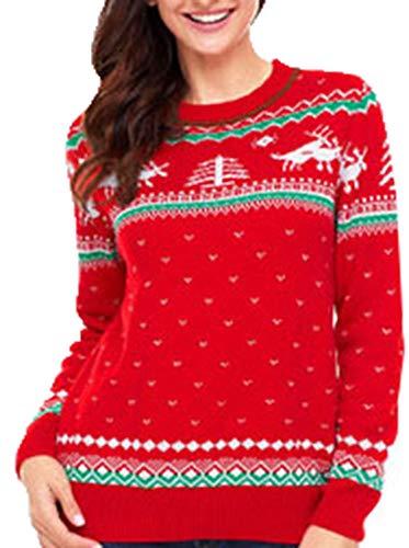 Zalock Maglioni Natalizi Felpa con Velluto a Maniche Lunghe Girocollo Natale Alto Sweatshirt Maniche Felpa Unisex Ugly Christmas Sweater Uomo e Donna Elfo Divertente Knitted Maglione di Natales
