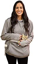 KITTYROO Cat Hoodie, The Original AS SEEN ON TV Kitty Carrying Sweatshirt, with Super Soft Kangaroo Pet Pouch (XX-Large) Grey