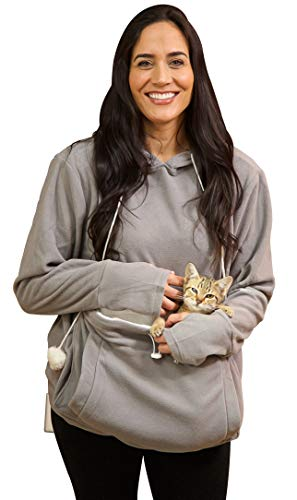 KITTYROO Cat Hoodie, The Original AS SEEN ON TV Kitty Carrying Sweatshirt, with Super Soft Kangaroo Pet Pouch (Medium) Grey