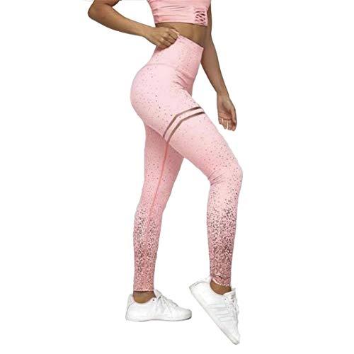 Mat Nina Damen Bronzebruck Leggings Lange Stretch Sport Yoga High Waist Jogginghose Push Up Fitnesshose (S, Rosa)