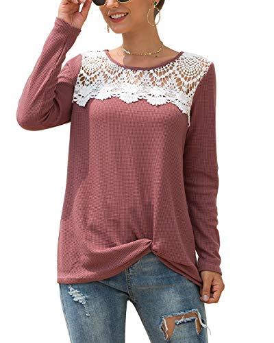 MINTLIMIT Damen Waffle Shirts Pulli Jersey Shirts Jumper Leicht Baggy Tunika Sweatshirts(Size 2XL,Rot)