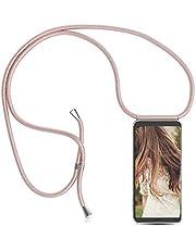 Funda con Cuerda para Xiaomi Redmi Note 10 Pro / Redmi Note 10 Pro Max, [Moda y Practico] [ Anti-Choque] [Anti-rasguños] Suave Silicona Transparente TPU Carcasa de movil con Colgante/Cadena, oro rosa