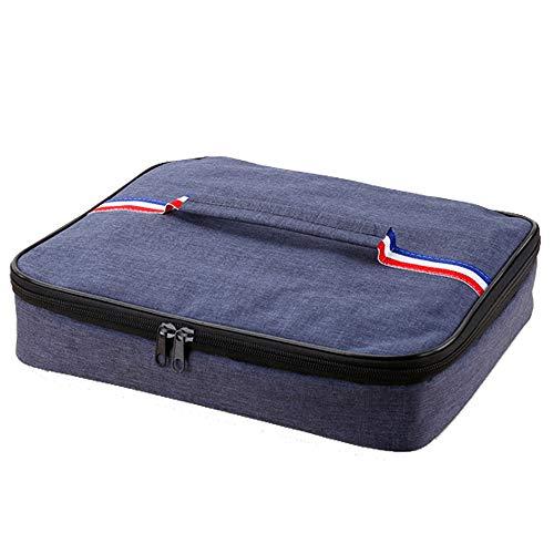 DXIA Borsa Termica Isolata, Lunch Box Bag Food Storage, Portatile Insulated Termico Borse Pranzo, Tessuto Oxford Foglio di Alluminio Waterproof Pranzo per la a Scuola e Lavoro, Blu (L)