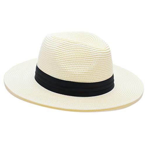 BLURBE Women Straw Sun Hat - Wide Brim Panama Hat Fedora Beach Hat Foldable...