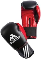 Adidas Guante de boxeo, Multicolor (negro/ rojo), 12 oz