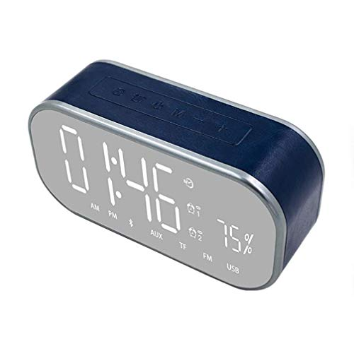 Wireless Bluetooth Speaker,Portable Bluetooth 5.0 Speaker with Light,1800 mAh Battery,Two Passive Subwoofers,FM Radio Function,4 Main Modes:Time,Date,Double Alarm Clock(Blue)