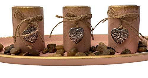 khevga Teelichthalter-Set Windlicht-Tablett Tisch-Dekoration Wohnzimmer Holz Mint Rosa Grau 3 Teelichthalter (Oval, Rosa)