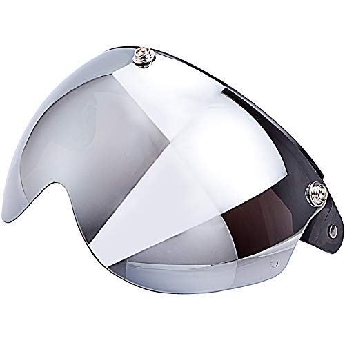 Chern Yueh Flip Up Shield Helmet Visor for 3-Snap Motorcycle Half Open Face Helmets (Chrome Mirror)