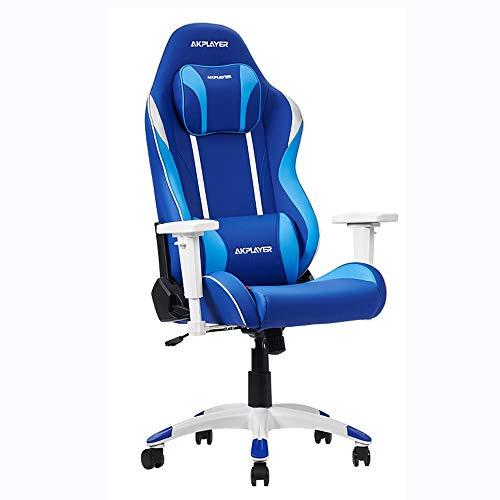 FUJGYLGL Altura Ajustable Silla de Estilo Racing Silla ergonómica de Juegos de Alta Volver Ordenador PC con el Apoyo for la Cabeza y el Soporte Lumbar Presidente Ejecutivo Oficina (Color : Blue)