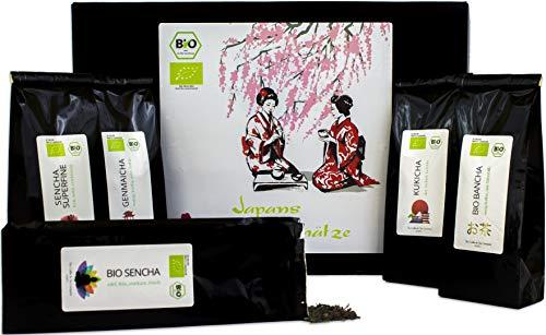 C&T Japanischer Grüner Tee Geschenkset | 5 x 50 g - Bio + Laktosefrei + Glutenfrei | Tee Geschenkset aus Japan | Lose organische Grüntees