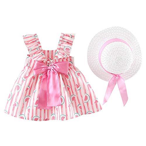 Vestido Bebé Agatha Ruiz De La Prada Elegante - Falda Corta de Niña Sin Manga + Sombrero de Sol con Lazo Conjunto de 2 Piezas - Vestido Bebés Playa para Cumpleaños,Vacaciones