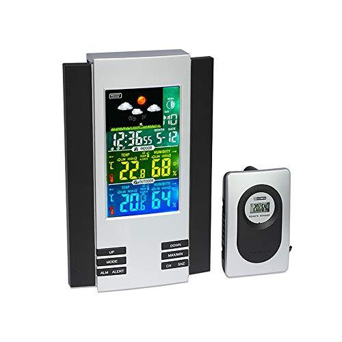 NBWS Weerstation, multifunctioneel, draadloos digitaal digitaal kleurrijk LCD-scherm voor binnen en buiten, thermometer, hygrometer, weerstation klok