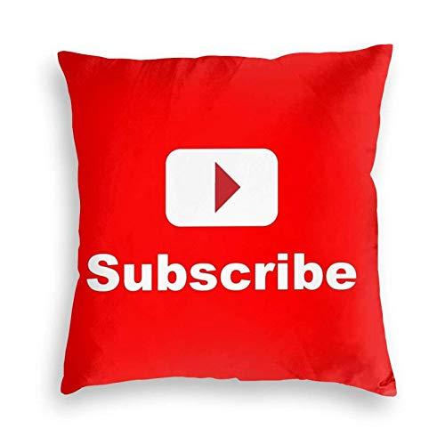 NBVC You-Tu-Be Chan-Nel Subscribe Decoración del hogar, sofá, Dormitorio, Coche, Funda de Almohada estándar, Funda de cojín Cuadrada, tamaño estándar, 18 x 18 Pulgadas