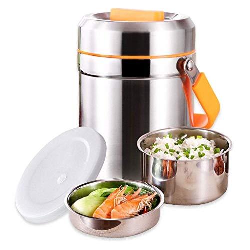 YFGQBCP Fiambrera Gran Capacidad de 2 litros de vacío Tarro Inoxidable alimenticio Almuerzo Termo Caja con la manija for Niños y AdultLeak Prueba