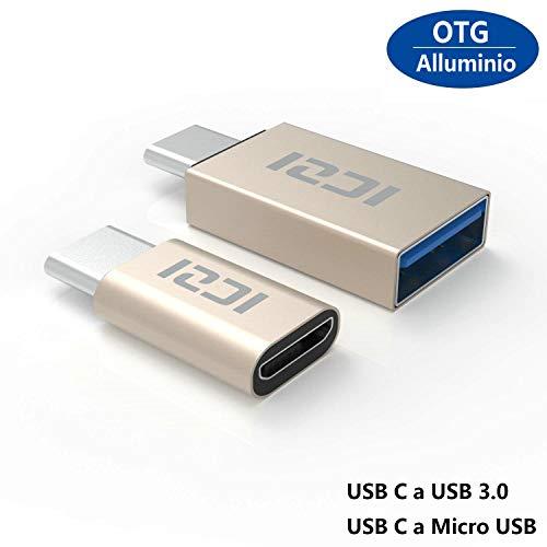 ICZI Adaptador USB Tipo C a Micro USB + Adaptador USB C a USB 3.0, Adaptadores USB OTG de Aluminio con Conectores Niquelados para Cable USB y Dispositivos USB-C,Dorado