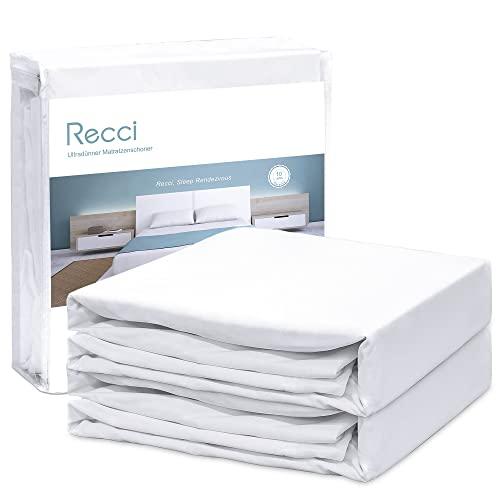 RECCI 2er Set Wasserdichter Matratzenschoner 90 x 200 cm/Anti-Milben und -Bakterien Matratzenauflage/maschinenwaschbarer Matratzenbezug für alle Allergiker/Inkontinenzauflage in verschiedenen Größen