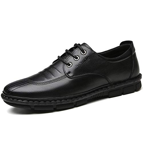 Best-choise Oxford de Negocios for Hombres Zapatos Casuales Estilo de Cordones Plantilla de Cuero Genuino Transpirable Cordones Planos de Cera Color sólido Super Suave Llamativo