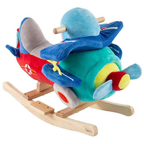 Happy Trails: Rocking Plane Toy- Kids Plush Stuffed Ride On Wooden Rockers with Sounds & Handles