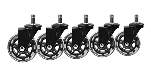 Slipstick CB690 Protecting Rubber Office Chair Wheels (Set of 5) Safe Rolling on All Flooring – Universal Fit Rollerblade Style Replacement Casters, Black/Black, 5 Count