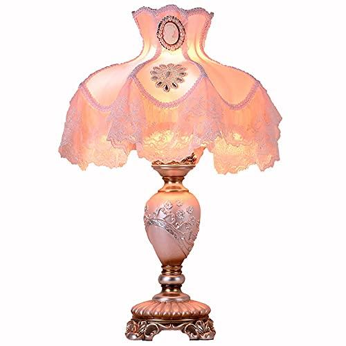 Lámpara de mesa moderna del dormitorio del estilo victoriano, lámpara de escritorio de la tela rosa, lámpara de resina Lámparas de lectura de la cama de la noche para la sala de estar iluminación romá