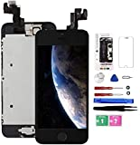 for iPhone 5S/SE Screen Replacement with Home Button Black, Mobkitfp Full Assembly LCD Touch Digitizer with Camera+Ear Speaker+Sensors+Repair Tools+Screen Protector for A1533, A1457, A1453, A1530