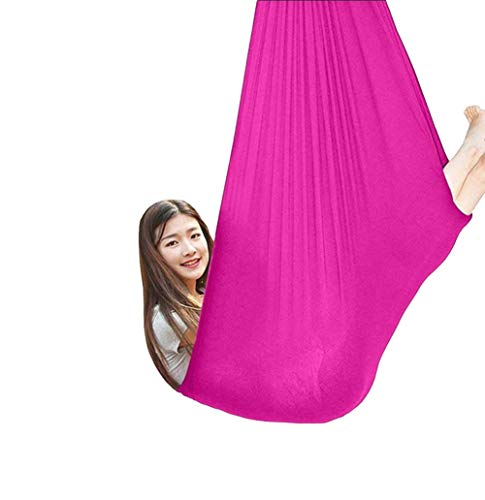 Kids Cotton Swing Hammock for Autism Sensory Great ADHD Aspergers and SPD Has a Calming Effect On Children With Needs Load Up To 440 LBS (Color : Rose red, Size : 100x280cm/39x110in)