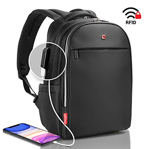 Mochila Portátil Antirobo negra - RFID bloqueo Puerto de carga USB - SWISS Diseño Mochila Negocio Universidad Viajar - Mochila impermeable para hombres, mujeres, modelo nuevo de 15,6