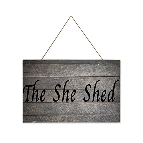DONL9BAUER The She Shed Kitchen Garden Hanging Wood Sign Plaque Wall Decor Sign Farmhouse Rustic Wall Art for Living Room Indoor Outdoor