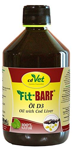 cdVet Naturprodukte Fit-BARF Öl D3 500 ml - Hund&Katze - ausgewogene Versorgung mit essentiellen Fettsäuren - Vitamin D3 Lieferant - kaltgepresst - Vitalstoffe - Hanföl - Rohfütterung - BARFEN -