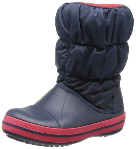 crocs Winter Puff Unisex-Kinder Warm gefütterte Schneestiefel, Blau (Navy/Red 485), 29/30
