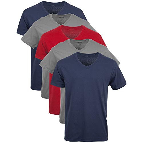 Gildan Men's V-Neck T-Shirts Multipack, Navy/Charcoal/Cardinal Red (5 Pack), Large