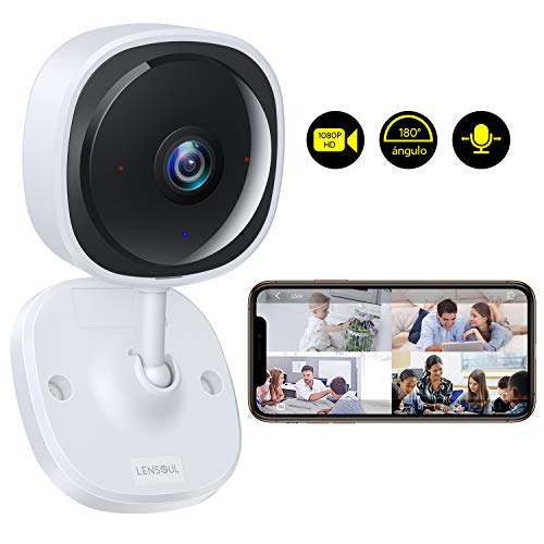 Cámara de Vigilancia Lensoul 1080P HD Cámara IP WiFi inalámbrica para Mascotas Monitor de bebés con vigilancia de Audio bidireccional Detección de Movimiento Visión Nocturna