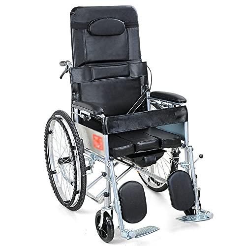 wheelchair Scooter para Ancianos Silla de Ruedas Plegable portátil Silla de Ruedas Ajustable Multifuncional con Respaldo y Orinal