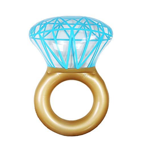 L&ieserram Flotador hinchable para adultos, con anillo de diamante, para playa, piscina o verano dorado Talla única