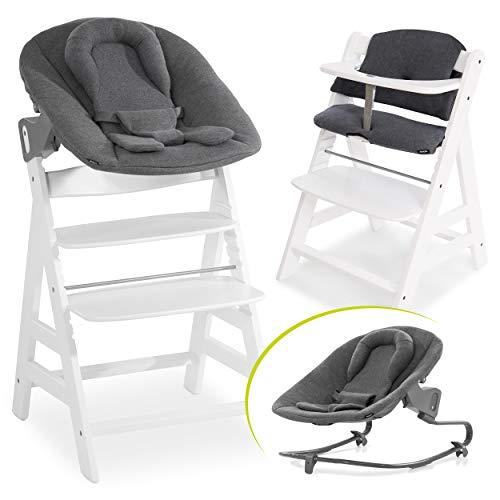 Hauck Alpha Plus Newborn Set mit Premium Bouncer - Baby Holz Hochstuhl ab Geburt mit Liegefunktion - extra flacher Aufsatz für Neugeborene & Baumwolle Sitzpolster - Weiß Dunkelgrau