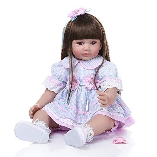 24 Zoll Schöne Simulation Baby Lange Haare Mädchen Tragen Blau Lila Plaid Rock Puppe Mädchen Haus Spielen Spielzeug Gutes Geschenk Für Mädchen Baby Geburtstagsgeschenk Puppe